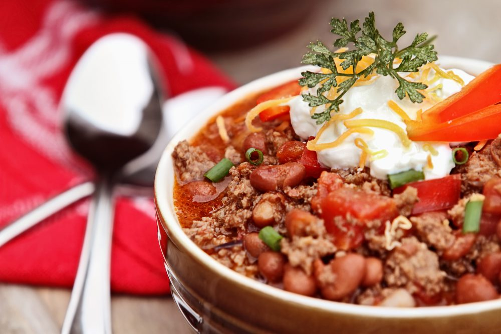 Chili made with bourbon whiskey to spice the holiday season