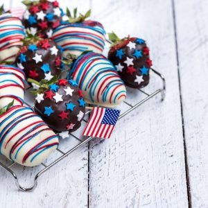 red, white, and blue vodka strawberries